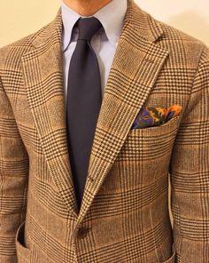 Brown PoW blazer, navy tie, blue shirt, Drakes p square, casual Friday