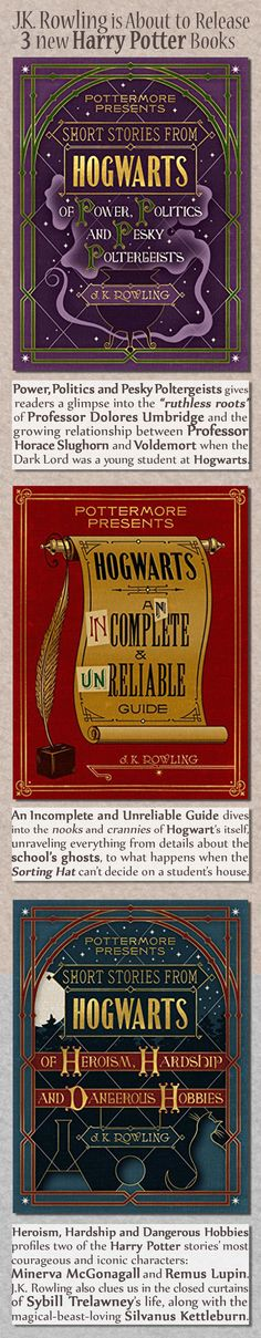 """.K. Rowling has written three collections of short stories that take readers deeper into the """"dark side"""" of the Harry Potter wizarding world, publishers confirmed Wednesday.  Rowling reveals surprises and intricate details about several characters' lives in the three new ebooks, which are available next month, Pottermore CEO Susan Jurevics said in a statement to (...)"""
