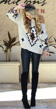 #winter #fashion /  Printed Off Shoulder Knit + Leather Leggings