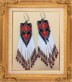 Stunning Beaded Earrings Dangles di Bead4Fun su Etsy