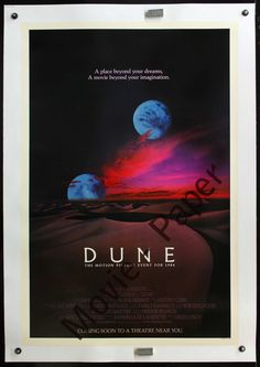 """This is a rare advance one-sheet; note the """"Coming soon to a theater near you."""" at the bottom of the poster. Linen backed. Very desirable poster in fine condition. There are a lot of Dune posters out there. But not this image, not in this condition, and not canvas backed. 27"""" x 41""""."""