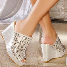 Wedges woman silver elasthomère heels 11 cm size 38, on line shop Modatoi. buy shoes on website modatoi.co.uk.