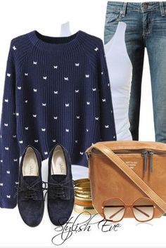 Navy knit, shoes