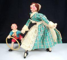 SOLD Vintage Roldan Doll Mother and Boy w Hoop   eBay