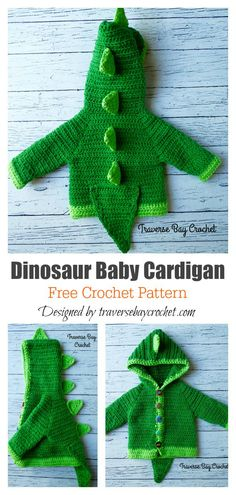 Dinosaur Hooded Sweater with Spikes Free Crochet Pattern - Crochet - Dinosaur Hooded Sweater with Spikes Free Crochet Pattern Dinosaur Baby Cardigan Free Crochet Pattern Crochet Dinosaur Patterns, Crochet Pattern Free, Crochet Cardigan Pattern, Crochet Motifs, Blanket Crochet, Baby Sweater Patterns, Baby Patterns, Crochet Baby Sweaters, Baby Knitting