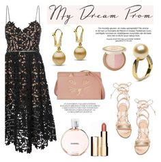 """""""Prom Do-Over: Your New Dream Dress"""" by pearlparadise ❤ liked on Polyvore featuring self-portrait, Gianvito Rossi, Charlotte Olympia, Too Faced Cosmetics, Clarins, contestentry, pearljewelry, promdoover and pearlparadise"""