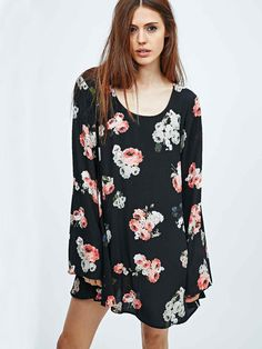 Black Long Sleeve Floral Print Dress 19.99