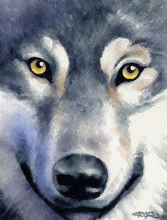 WOLF Wildlife Art Print Signed by Artist DJ Rogers by k9artgallery   WATERCOLOR