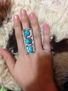 Native American Huge Old Pawn Navajo Turquoise Ring 7