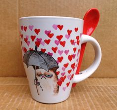 Grumpy cat Kézzel festett kávés bögre #coffee #mug #love #HandPainted #cat