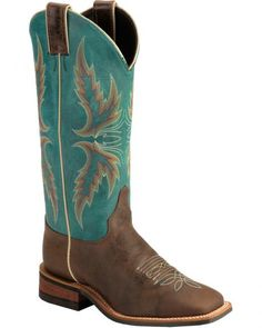 Justin Bent Rail Blue Puma Cowgirl Boots - Square Toe