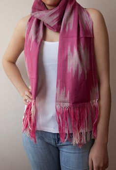 Pink Ikat Scarf by Ikatland on Etsy, $25.99 Cotton Scarf, Ikat, Plaid Scarf, Take That, Pretty, Pattern, Pink, How To Wear, Stuff To Buy
