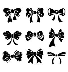 Illustration of Set of bow vector art, clipart and stock vectors. Bow Vector, Vector Art, Vector Stock, Silhouette Cameo Projects, Silhouette Design, Silhouette Files, Stencils, Creation Art, Tattoo Und Piercing