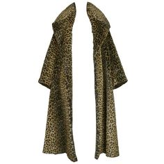 Preowned Iconic Alaia Leopard Faux Fur Coat 1991 (28 930 PLN) ❤ liked on Polyvore featuring outerwear, coats, black, vintage coats, fake fur leopard coat, imitation fur coats, vintage leopard coat and faux fur coat