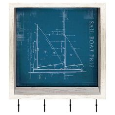 Nautical wall decor showcases a blueprint-inspired sailboat motif and 4 hooks.