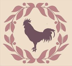 "Rooster and Wreath Stencil  / LARGE 11""Tall x12"" Wide BEAUTIFUL Feedsack and Burlap pillow stencil"
