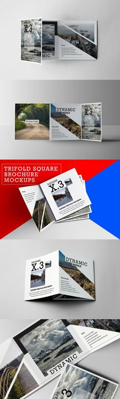 Trifold Square Brochure Mockups. Photoshop Actions. $6.00