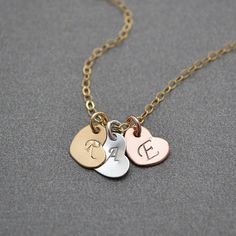 Three Heart Necklace, 3 Initial Heart Necklace, Gold Rose Gold Sterling Silver Heart Necklace, Three Tone Hearts, Mixed Metal Necklace