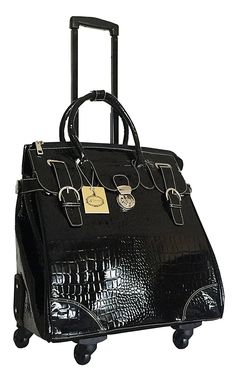Trendy Flyer Computer/laptop Large Bag Tote Duffel Rolling 4 Wheel Spinner Luggage Black Croc >>> Details can be found by clicking on the image. (This is an Amazon Affiliate link and I receive a commission for the sales)