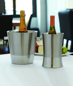 Silver Thread Champagne Holder & Wine Cooler: Featuring brushed stainless steel finishes with polished and etched bases.