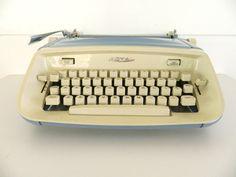 Vintage Royal Safari Blue Typewriter Manual Portable by Rustage, $75.00