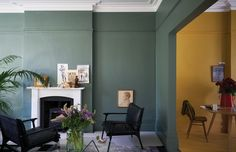 Green Smoke India Yellow Wimborne White - The Chromologist Farrow And Ball Living Room, Living Room Green, Green Rooms, My Living Room, Living Spaces, Yellow Dining Room, Wimborne White, Hallway Colours, Room Paint Colors