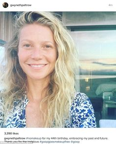 Evergreen: Gwyneth Paltrow showed her natural looks by going make-up free in a selfie to commemorate her 44th birthday