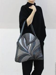 Женские сумки ручной работы. Ярмарка Мастеров - ручная работа. Купить Перо макси серая. Handmade. Однотонный, комбинированный