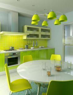 Unique green kitchen interior design