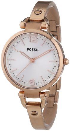Fossil ES3110 - Reloj analógico de cuarzo para mujer, correa de acero inoxidable chapado color rosa: Amazon.es: Relojes