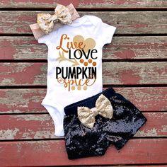 Live Love Pumpkin Spice Bodysuit, Baby Girl, Girls, Toddler, Sparkle, Glitter, Halloween, Pumpkin, Fall, Thanksgiving, Witch, Ghost, Spooky