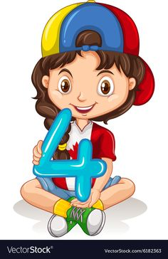 Cute girl holding number four Royalty Free Vector Image