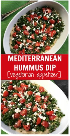 This Mediterranean Layer Hummus Dip is a fresh and healthy appetizer that is the perfect dish to pass at any party! Healthy Side Dishes, Good Healthy Recipes, Healthy Snacks, Healthy Eating, Yummy Recipes, Vegetarian Appetizers, Appetizer Dips, Hummus Dip, Party Dishes