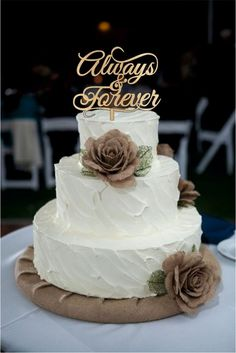 Always and Forever Wedding Cake Toppers - natural wood or acrylic cake toppers…