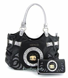 f208db6674 Betty Boop Black Large Purse   Wallet Set with Rhinestones Betty Boop  Tattoos
