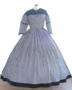 #16-001 Blue stripe day dress with blue velvet trim.