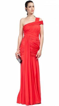 HALSTON HERITAGE - Vestido largo rojo - red long dress - Alquiler vestidos  fiesta - Dresseos 98f4f3207d0d
