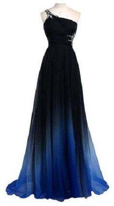 Noble Rhinestone Design One-Shoulder Sleeveless Ombre Color Pleated Prom Dress