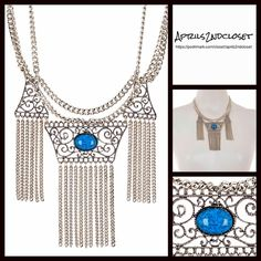 """Boho Silver Blue Stone Fringe Statement Necklace  NEW WITH TAGS   Boho Silver Turquoise Ombre Stone Fringe Cluster Statement Necklace  * Gorgeous Ombre Crystal glass stone in a silver played chain & fringe setting  * Delicate 3 layers of tassel fringe  * Measures approx 17.5"""" long w/3.5""""-4"""" drops  * Lobster clasp closure  * Silver-tone intricate design details. Material: Silver plated metal & glass;Made in the USA Color: Silver    No Trades ✅ Offers Considered*/Bundle Discounts✅  *Please use…"""