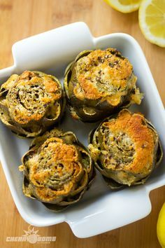 baked artichokes + 13 other delicious artichoke recipes, yum! Side Dish Recipes, Vegetable Recipes, Vegetarian Recipes, Cooking Recipes, Healthy Recipes, Cookbook Recipes, Baked Artichoke, Artichoke Recipes, Think Food