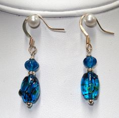 Grecian Blue Glass Beaded Earrings $13.50