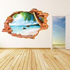 AUVS 3D- Selbstklebende Abnehmbaren Durchbrechen Die Mauer Vinyl Wandsticker / Wandgemälde Kunst Aufkleber Dekorateur (8001F Kokosnuss Meeresstrand (60*90cm))