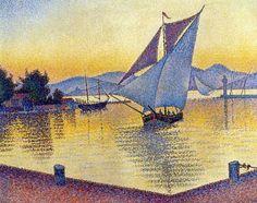 "Paul Signac ""The Port at Sunset, Saint-Tropez"", 1892 (France, Post-Impressionism / Pointillism, 19th cent.)"