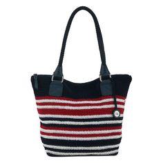 The Sak Cambria ANTHEM STRIPE Hand Crocheted RED WHITE BLUE Large Shoulder Bag  #THESAK #ShoulderBag
