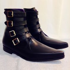 4 Strap Winklepicker Boots in Black Leather ($96) ❤ liked on Polyvore featuring shoes, boots, wide width boots, black leather boots, wide leather boots, wide width leather boots and buckle boots