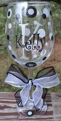 Personalized SPARKLE Wine Glass by expressandcreate on Etsy, $14.00