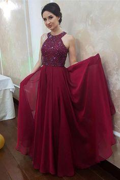 Rhinestones Bodice evening dress Chiffon Burgundy Prom Gowns