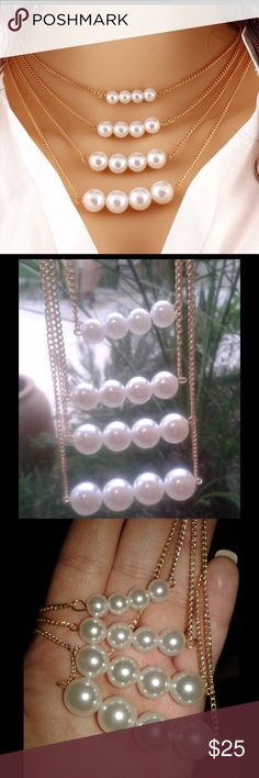 PEARL STRING NECKLACE PEARL STRING NECKLACE - NWT . Super chic and stylish Jewelry Necklaces