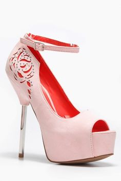 Detailed Peep Toe Platform Heels
