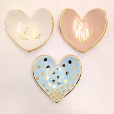 Custom heart shaped handmade ring dish with 22K gold luster overglaze with calligraphy or polka dots by susandgordonpottery on Etsy https://www.etsy.com/listing/220081075/custom-heart-shaped-handmade-ring-dish